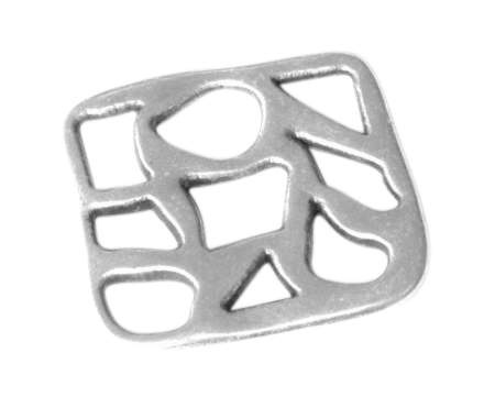 Lot de 10 intercalaires carres en metal plaque argent-20mm